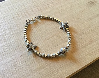 Karen Hill tribe silver hexagon beaded bracelet with starfish and shell beads