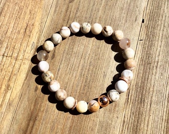Smokey dentritic opal, Karen Hill Tribe rose gold vermeil brushed curved disc beads, rose gold plated 8mm beaded bracelet