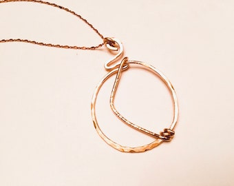 14k Gold fill hammered circle pendant necklace on 14k rose gold cube chain