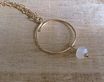 Open circle 14k gold fill pendant necklace with AA moonstone charm, textured, on gold fill figure 8 chain