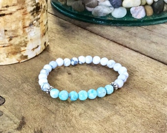 Genuine 7mm larimar beaded bracelet, howlite beads with sterling spacer beads