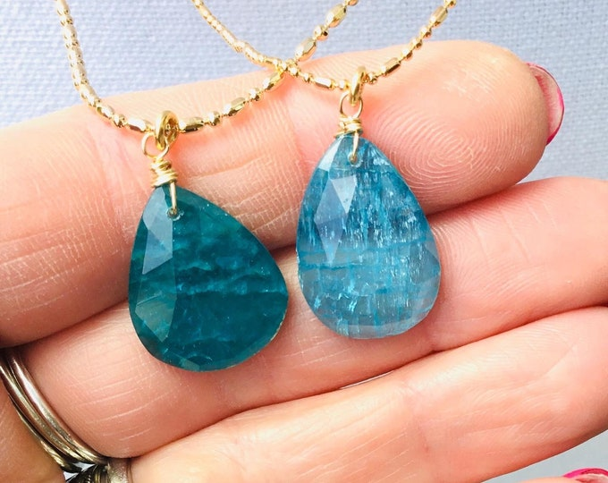 Neon apatite pendant necklaces on 14k gold fill ball bead chain, layering
