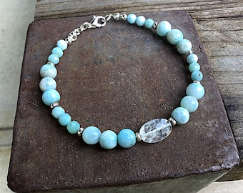 Genuine 6mm Dominican larimar and rainbow moonstone oval beaded bracelet with tiny Karen Hill Tribe imprint beads