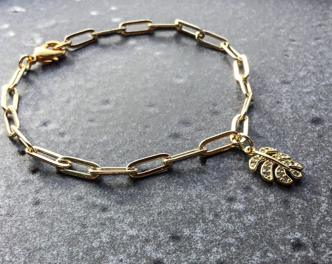 14k gold paperclip chain bracelet 11.8 x 4.7mm with pave leaf charm, simple, elongated