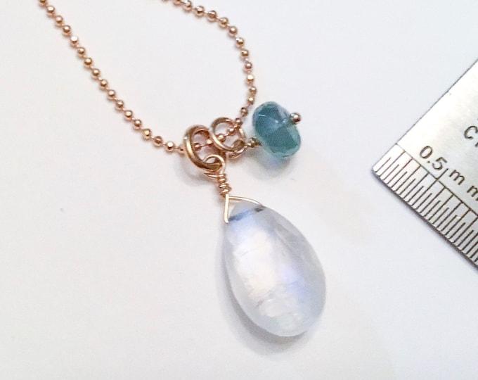 Rainbow moonstone teardrop pendant necklace with emerald duo on 14k gold fill ball chain, layering,minimalist