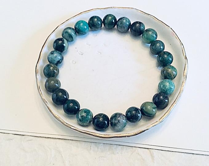Green verdite 8mm beaded bracelet, stacking