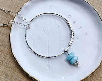 Genuine larimar smooth rondelles on sterling silver overlapping circle pendant necklace, textured on sterling rectangular link chain