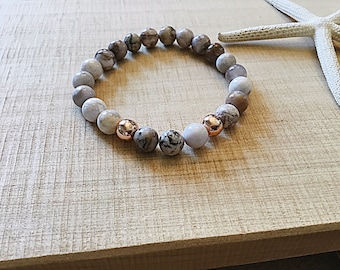 Smokey dentritic opal beaded bracelet with 2 rose gold plated 8mm beads