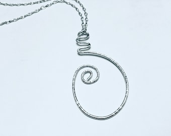Sterling silver hammered swirly large oval pendant necklace on sterling silver chain