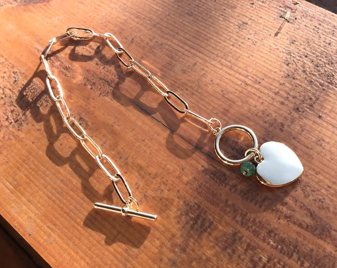 14k gold fill paperclip chain bracelet, toggle clasp with gold fill heart charm and emerald rondelle