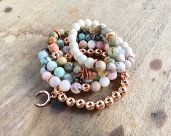 Stacking bracelets, River stone and dentritic opal, aqua terra agate, Peruvian opal, red cherry jasper, rose gold