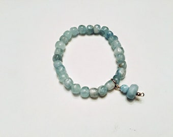 High grade aquamarine freeform nugget beaded bracelet, aquamarine and larimar charm