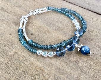 Double wrap, teal kyanite rondelles, London blue topaz quartz coins, Karen Hill silver, sterling charm beaded bracelet