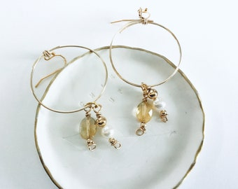 14k gold fill large hoop earrings, thin, citrine ovals and pearl charms, double