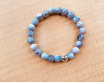 Blue banded Brazil agate beaded bracelet, with silver plated bead option