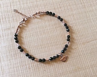 14k Rose gold vermeil over 925 sterling , black spinel, faceted tiny beaded bracelet, seed beads, Karen Hill Tribe, bird charm