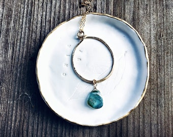 AAA rare blue watermelon tourmaline smooth slice briolette on 14k Gold fill textured freeform circle pendant necklace