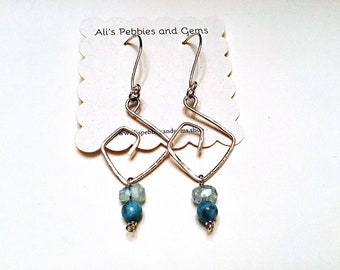 925 sterling large freeform geometric earrings with high grade aquamarine rondelles and natural larimar beads