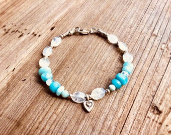 Natural Larimar smooth rondelles, moonstone pebbles, tiny sterling spacers, Karen Hill Tribe, heart charm
