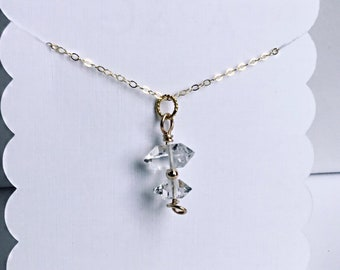 Herkimer diamond stack pendant necklace on dainty chain, april birthstone