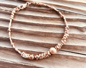 14k Rose gold vermeil over 925 sterling , faceted tiny beaded bracelet, seed beads, Karen Hill Tribe, brushed round bead