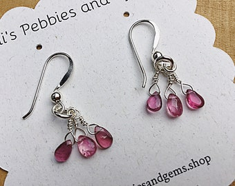 Pink tourmaline smooth drop earrings on sterling silver ear wires,dainty, trio