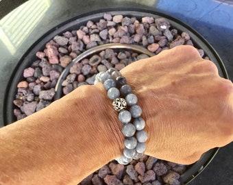 Grey jade faceted 8mm stretch bracelet with sterling vine bead, all grey jade bracelet sold separately