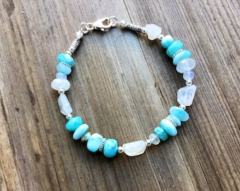 Natural Larimar smooth rondelles, sterling and moonstone mix of freeform rectangles and rondelle beaded bracelet, Karen Hill imprint tube be