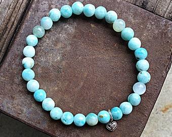 Blue hemimorphite 6mm beaded bracelet with sterling silver heart charm, stacking