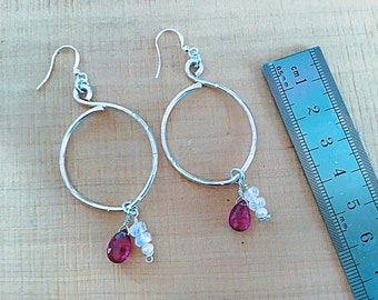 Pink tourmaline, moonstone and pearls on sterling silver marquis swirly earrings, textured, large, thick
