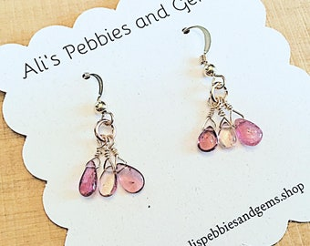 Pink tourmaline smooth drop earrings on 14k gold fill ear wires,dainty