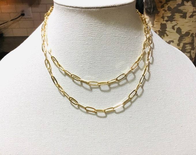 Layering 14k gold fill paperclip chain necklace, 11.8 x 4.7mm, chunky, elongated