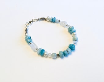 Natural Larimar smooth rondelles, sterling and moonstone mix of freeform rectangles and rondelle beaded bracelet, pearls Karen Hill Tribe