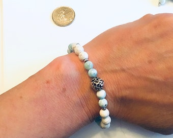 Genuine 6mm larimar beaded bracelet, Karen Hill Tribe silver imprint seed beads, howlite beads, sterling vine bead