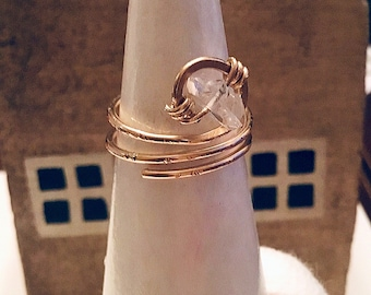 Herkimer diamond solitaire stone ring on 14k gold fill wire, swirling, double band, thin, textured,sterling, solitaire, april birthstone