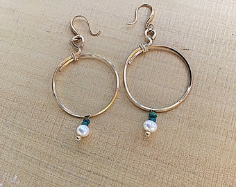 14k Gold fill square wire, overlapping circle hoop earrings, fire green opal, pearl, large