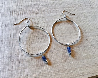 Sterling large hoop earrings with Kyanite rondelles, textured
