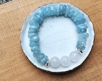 A+ aquamarine rondelles with 10mm selenite beaded bracelet, chunky, sterling saucer beads