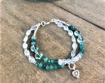 Double wrapped green natural grandidierite rondelles, rainbow moonstone and green amethyst beaded bracelet, Karen Hill silver and sterling