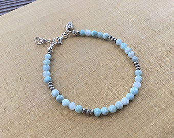 Genuine 4mm ocean blue larimar beaded bracelet with tiny Karen Hill,Tribe imprint seed beads and heart charm