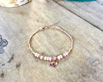 14k Rose gold vermeil over 925 sterling , faceted, pink rhodochrosite tiny beaded bracelet, seed beads, Karen Hill Tribe, bird charm