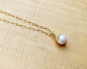 Freshwater pearl pendant in electroplated gold necklace on gold fill rectangular chain