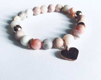 Pink Peruvian opal, rose gold hammered heart, curved disc beads 8mm stacking beaded bracelet