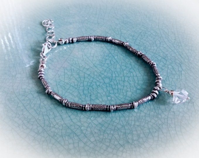 Herkimer Diamond on Karen Hill Tribe mix of imprint tiny seed beads and daisy imprint tube beaded bracelet