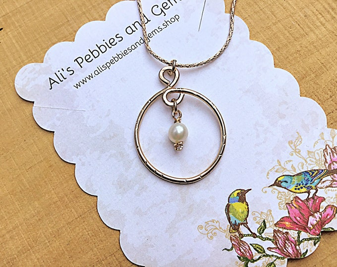 Freshwater pearl charm on 14k gold fill open circle pendant necklace, swirly, textured on 14k gold fill chain