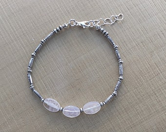 Karen Hill Tribe imprint tiny daisy imprint tube beads and imprint seed beaded bracelet with rainbow moonstone ovals