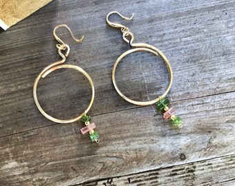 Natural Watermelon tourmaline slices on 14k Gold fill square hammered overlapping circle hoop earrings, plated fancy ear wires