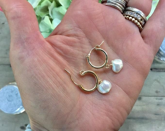 Keishi pearl earrings on thick gold filled hoop earrings, minimalistic