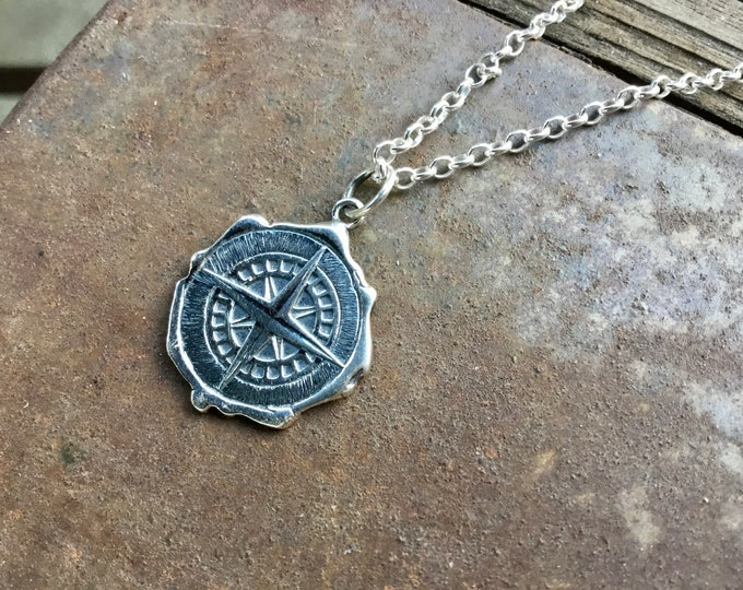 Sterling silver compass pendant necklace on sterling rolo chain, inspirational