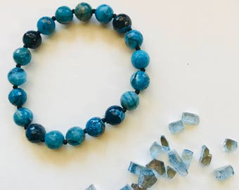 Blue Crazy Lace 8mm Faceted Agate gemstone bracelet
